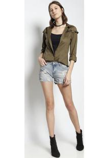 Camisa Lisa Com Babado - Verde Militar- Le Fixle Fix
