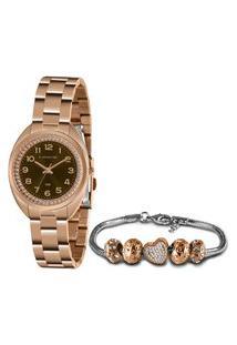 Kit Relógio Feminino Lince Analógico Lrr4680L Kn11M2Rx + Pulseira Rosê