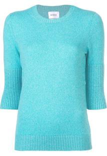 Barrie Suéter Slim De Mangas Curtas - Azul