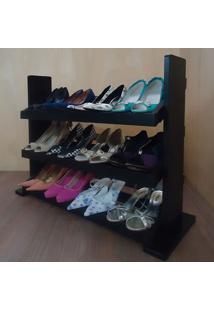 Sapateira De Piso Para Closets E Quartos 12 Pares Sapatos - Preto Laca