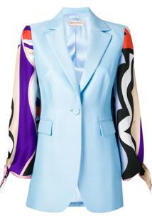 Emilio Pucci Blazer Com Contraste - Azul