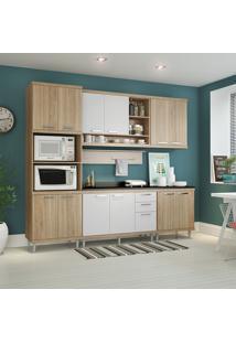 Cozinha Compacta Com Tampo 6 Peças 5815-S8T Sicília - Multimóveis - Argila Acetinado / Branco Acetinado