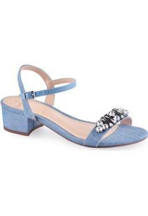 Sandália Salto Baixo Jeans La Femme Feminina - Feminino-Azul