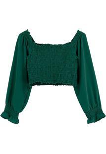 Blusa Verde Cropped Em Crepe Texturizado