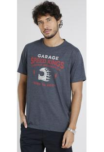 "Camiseta Masculina ""Garage Speed Kings"" Manga Curta Gola Careca Cinza Mescla Escuro"