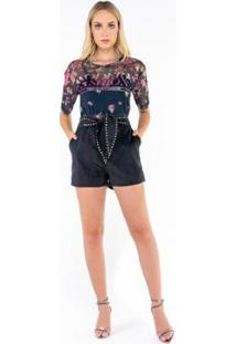 Blusa Caos Tule Silk Modern Fashion Transfer Feminina - Feminino-Rosa