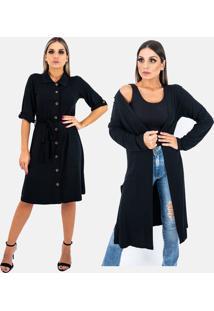 Kit 2 Pças 1 Vestido E 1 Cardigan Longo Plus Size Juquitiba Brasil Preto