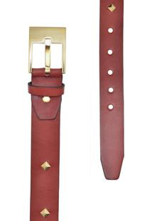 Cinto Corazzi Leather Deluxe Spike Vermelho