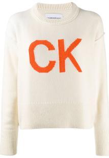 Calvin Klein Jeans Suéter De Tricô Com Logo - Neutro