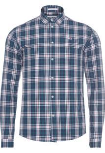 Camisa Masculina Essencial Brushed - Azul