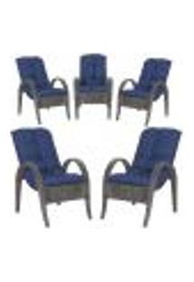 Cadeiras 5Un P/ Jardim Lazer Edicula Varanda Descanso Fibra E Tramas Napoli Plus Tabaco A29