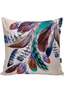 Capa De Almofada Feather- Bege & Azul Escuro- 45X45Cstm Home