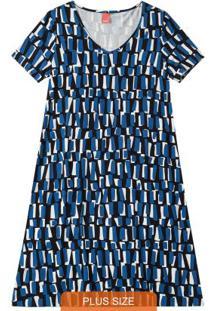 Vestido Azul Estampado Em Viscose