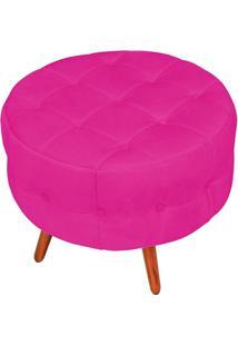 Puff Decorativo Botonê Yasmin Suede Pink Pés Palito Condor Drossi