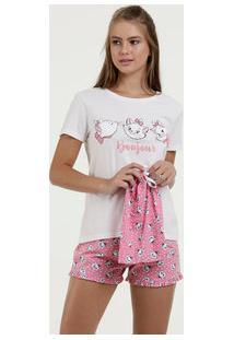 Pijama Feminino Estampa Marie Manga Curta Disney