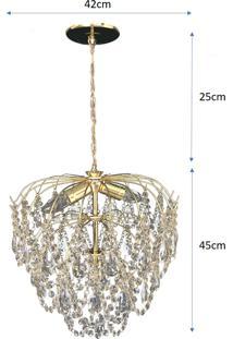Lustre Pendente De Cristal Acrílico Alto Brilho 42X70 Lina Design Ac57