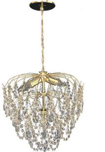 Lustre Redondo Lina Design Cristal Acrílico Bivolt Itapema Dourado 42X70