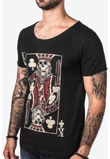 Camiseta Hermoso Compadre Skull Card Masculina - Masculino-Preto