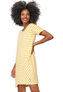 Vestido Cantão Curto Listrado Off-White/Amarelo