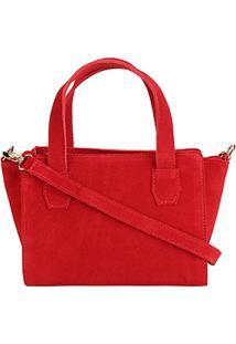 Bolsa Shoestock Mini Bag Tiracolo Camurça Feminina - Feminino-Vermelho