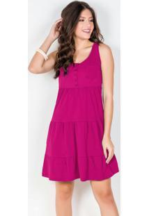 Vestido Regata Com Babados Rosa Pink