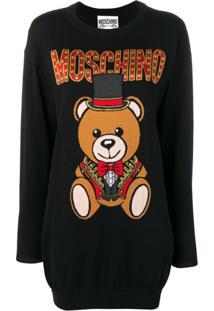 Moschino Vestido De Tricô Teddy Bear - Preto