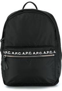 A.P.C. Branded Zip Pocket Backpack - Preto