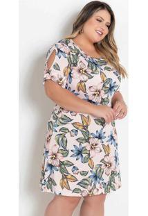Vestido Floral Rosa Com Recorte Vazado Plus Size