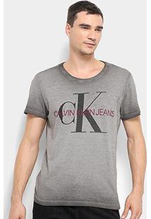 Camiseta Calvin Klein Estonada Masculina - Masculino-Cinza