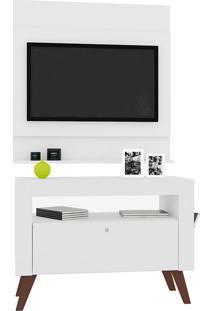"""Rack Com Painel Para Tv De Até 47"""" Polegadas Canadá – Art In Móveis - Branco"""