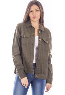 Jaqueta Sisal Jeans Com Botões Oversize Verde Militar