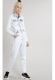 Macacão Jeans Feminino Com Bolsos Manga Longa Azul Claro