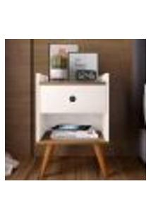 Mesa De Cabeceira Retrô Decore 1 Gaveta - Off White / Freijo - Rpm Móveis