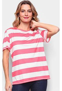 Camiseta Lança Perfume Básica Listrada Feminina - Feminino-Vermelho