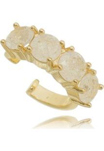 Brinco Soloyou Piercing Falso Fusion Cristal Semijoia Em Ouro 18K Branco