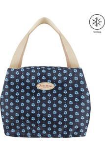 Bolsa Térmica Estampa Abstrata- Azul Marinho & Bege-Jacki Design