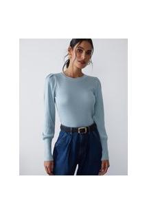 Amaro Feminino Blusa Tricot Detalhe Pregas Ombro, Azul Claro