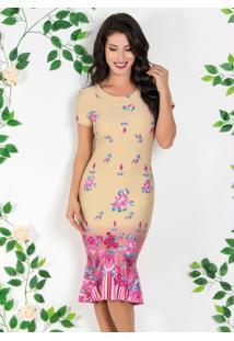 Vestido Moda Evangélica Com Barrado Floral