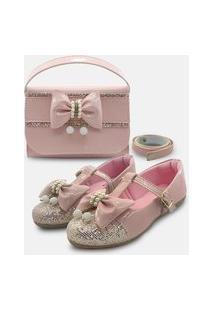 Kit Sapatilha Boneca E Bolsa Carteira Infantil Mz Shoes Rosa/Glitter