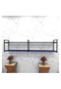 Estante Estilo Industrial Sala Aço Cor Preto 180X30X40Cm (C)X(L)X(A) Cor Mdf Azul Modelo Ind40Azsl