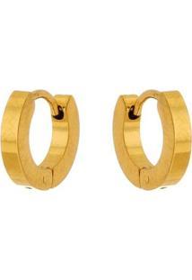 Brinco Argola De Aço Inox Tudo Joias Dourado Modelo Reto - Unissex-Dourado