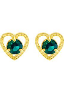 Brinco Horus Import Ponto Luz Coração Verde Esmeralda Banhado Ouro Amarelo 18 K - 1031124