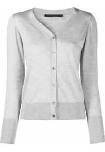 Incentive! Cashmere Cardigan De Cashmere Com Acabamento Canelado - Cinza