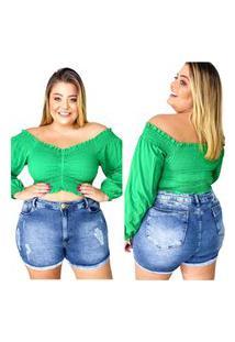 Bermuda Jeans Plus Size Rc Azul