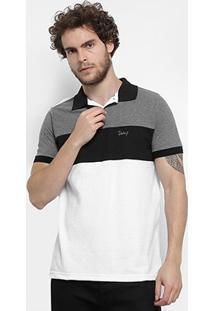 Camisa Polo Jimmy'Z Tricolor Masculina - Masculino-Preto+Branco