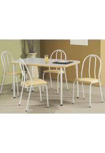 Conjunto De Mesa Com 4 Cadeiras Cristal Branco E Bege - Única
