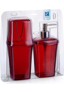 Conjunto Para Banheiro Com 2 Peças Vermelho