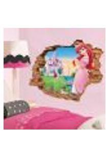 Adesivo De Parede Buraco Falso 3D Princesa Ariel 04 - G 82X100Cm