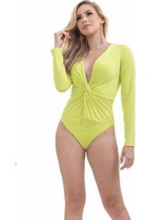 Body Clara Arruda Manga Longa 17008 - Feminino-Verde