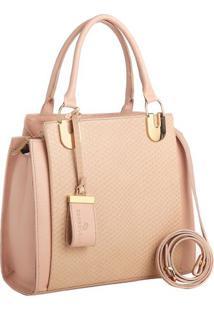 Bolsa Em Couro Texturizada- Rosa Claro & Dourada- 23Edu Bolsas